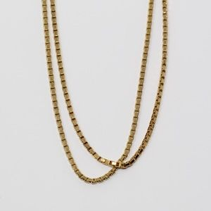 Sterling Gold Plate 3mm Box Chain Necklace 36""